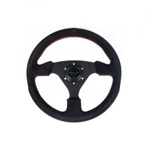 Vigor Steering Wheel Monza Black - Black 330mm 30mm Suede Red Waffle Stitch-69402