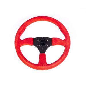 Vigor Steering Wheel Spa Black 350mm 50mm Suede Red Waffle Stitch-69400