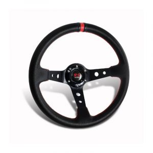 SK-Import Steering Wheel Drift Deep Dish Red 320mm 75mm Leather-44928-RD
