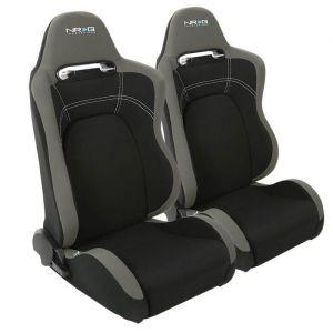 NRG Innovations Seat Evo Adjustable Black - Grey Fabric-61408
