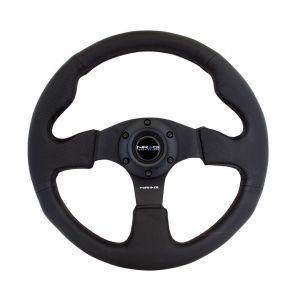 NRG Innovations Steering Wheel Black 320mm Leather Flat-61417