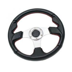 SK-Import Steering Wheel Silver 320mm Leather Flat-61429
