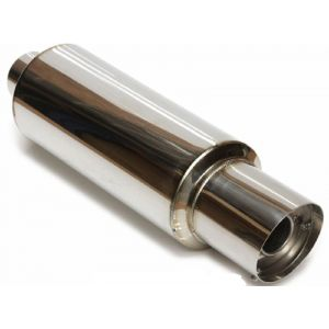 M2 Motorsport Universal Muffler Polished 76mm Stainless Steel-64672