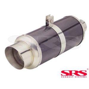 SRS Rear Universal Muffler G55 Black 61mm Carbon Fiber & Stainless Steel-50110