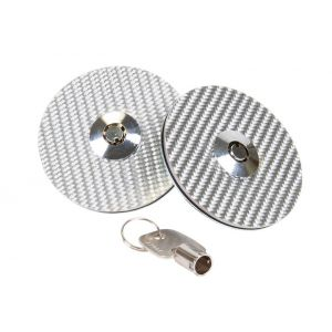NRG Innovations Hood Pins With Lock Silver Carbon-77909