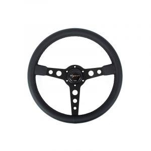 Vigor Steering Wheel Monte Carlo Black - Black 350mm 20mm Leather Black Waffle Stitch-67129