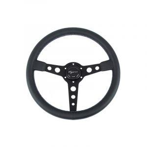 Vigor Steering Wheel Monte Carlo Black - Black 350mm 20mm Leather Motorsport Waffle Stitch-67130
