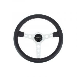 Vigor Steering Wheel Monte Carlo Silver - Black 350mm 20mm Leather Grey Double Horizontal Stitching-67128