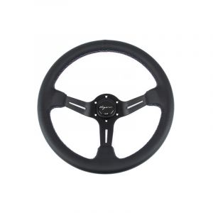 Vigor Steering Wheel Daytona Black - Black 350mm 70mm Leather Motorsport Waffle Stitch-67134