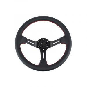Vigor Steering Wheel Daytona Black - Black 350mm 70mm Leather Red Waffle Stitch-67133
