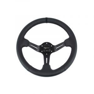 Vigor Steering Wheel Daytona Three Center Line Embroidery Black - Black 350mm 70mm Leather Black Waffle Stitch-67132