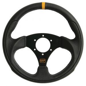 QSP Steering Wheel Racing Black 300mm Leather Flat-55709