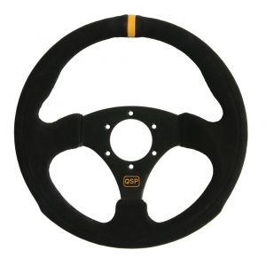 QSP Steering Wheel Racing Black 300mm Suede Flat-55710