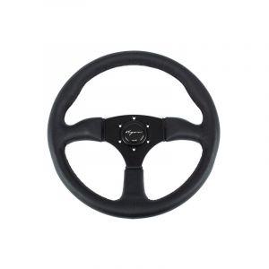 Vigor Steering Wheel Spa Black - Black 350mm 50mm Leather Black Waffle Stitch-67135
