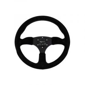 Vigor Steering Wheel Spa Black - Black 350mm 50mm Suede Black Waffle Stitch-67136
