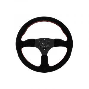 Vigor Steering Wheel Spa Black - Black 350mm 50mm Suede Red Waffle Stitch-67137